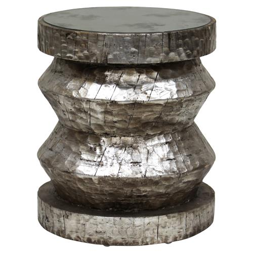 Bimini Global Bazaar Rustic Silver Stool End Table | Kathy Kuo Home