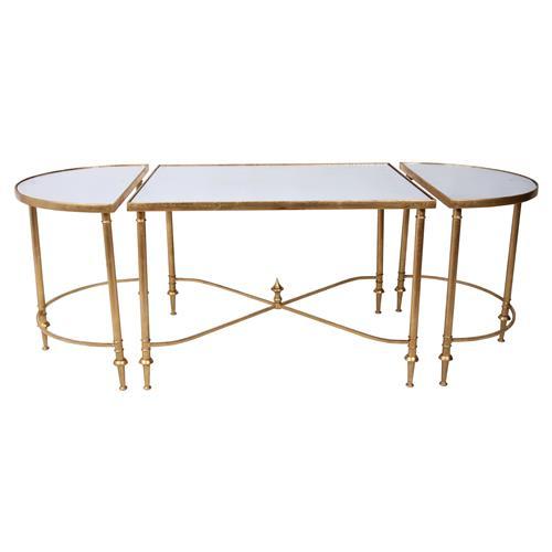 layne hollywood gold regency mirrored coffee table kathy