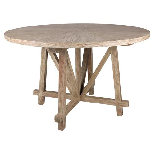 bertrand rustic lodge trestle round wood dining table kathy kuo home