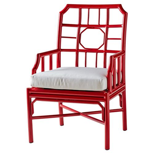 Rama Global Bazaar Regeant Outdoor Armchair - Red | Kathy Kuo Home