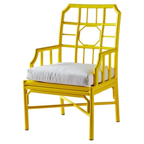 Rama Global Bazaar Regeant Outdoor Armchair - Yellow | Kathy Kuo Home