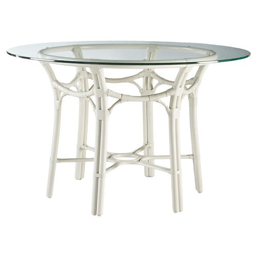 Arietta Global Bazaar Gothic Rattan Dining Table White Kathy Kuo Home