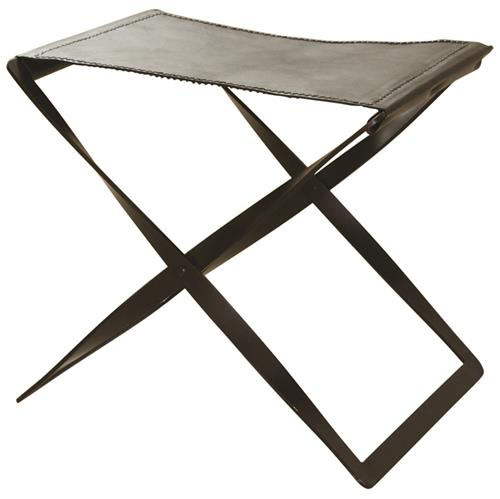 Isabel Modern Classic Brown Leather Seat Iron Frame Folding Stool | Kathy Kuo Home