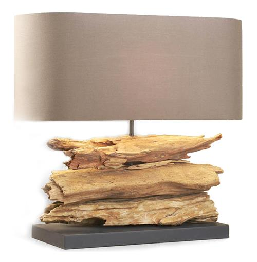 Riverine Natural Driftwood Wood Contemporary Table Lamp | Kathy Kuo Home