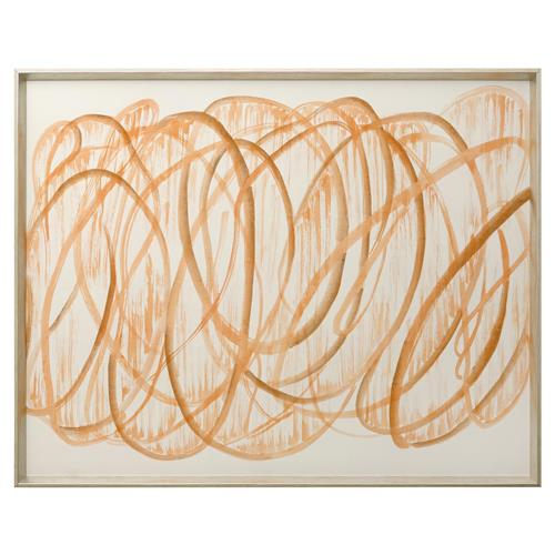 Brodee Modern Silk Graffiti Calligraphy Painting - Orange | Kathy Kuo Home