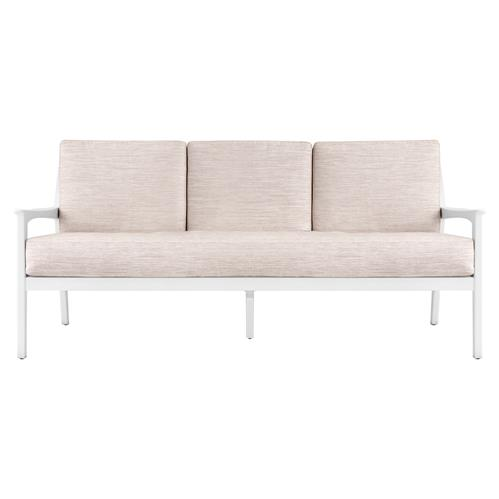 Cadby Mid Century White Wood Sofa - Beige Weave | Kathy Kuo Home