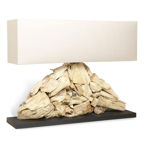 Pymia Root Modern Driftwood Long Rectangle Lamp | Kathy Kuo Home