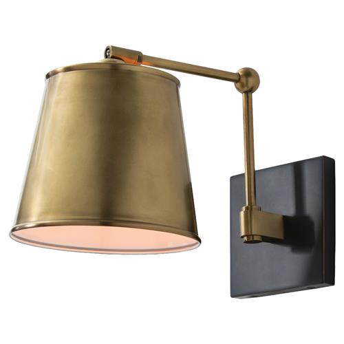 Arteriors Watson Bronze Antique Brass Shade Classic Sconce | Kathy Kuo Home