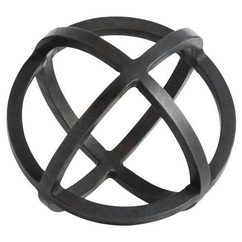 Simple Sphere Industrial Black Iron Sculpture - 7D | Kathy Kuo Home