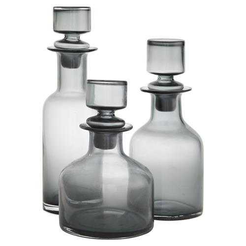 Arteriors O'Connor Modern Smoked Glass Decanters - Set of 3 | Kathy Kuo Home