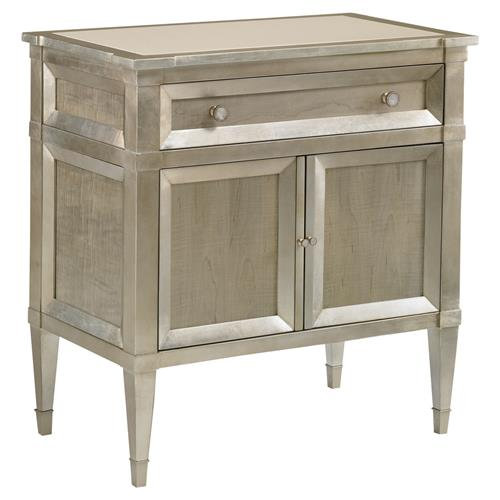 Caracole Buona Notte Regency Silver Leaf Grey Wood Nightstand | Kathy Kuo Home