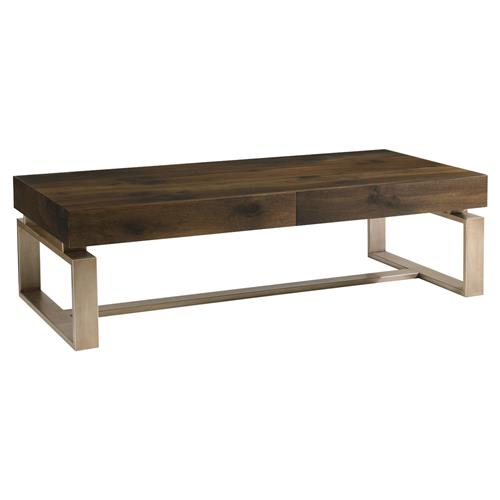 Antique White And Oak Coffee Tables: Patrick Rustic Antique Brass Oak Wood Coffee Table