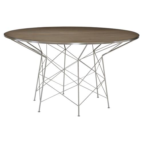 Urban Modern Classic Chrome Dimension Wood Table | Kathy Kuo Home