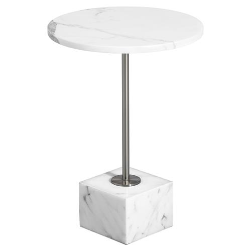 Interlude Rian Modern Classic Round White Marble End Table | Kathy Kuo Home