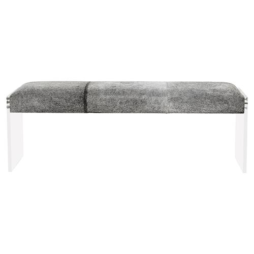 Interlude Aiden Modern Grey Hide Acrylic Bench | Kathy Kuo Home