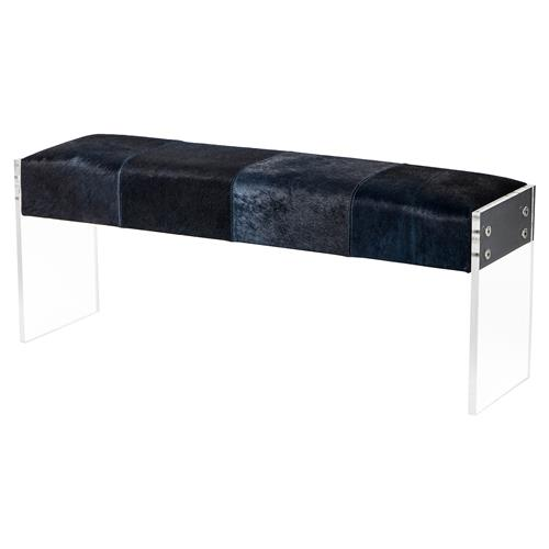 Interlude Marloes Modern Blue Hide Acrylic Bench | Kathy Kuo Home