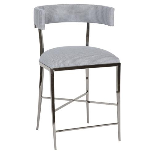 Vanguard Greer Classic Rounded Silver Navy Pattern Counter Stool | Kathy Kuo Home