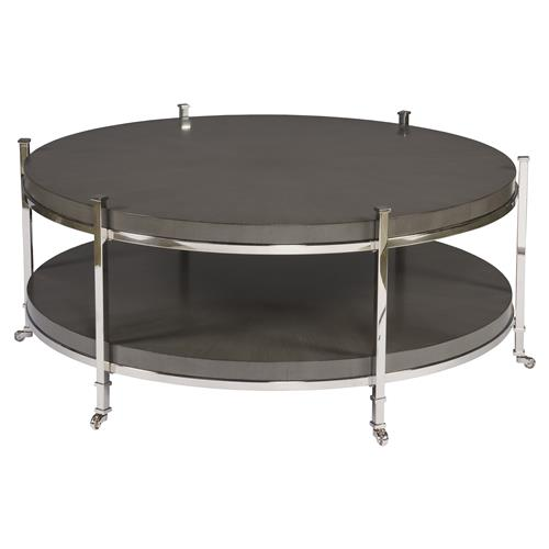barring modern charcoal grey round steel coffee table kathy kuo home. Black Bedroom Furniture Sets. Home Design Ideas