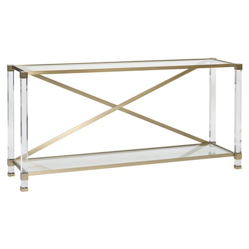 Thom Filicia New Modern Acrylic Satin Brass Console Table | Kathy Kuo Home