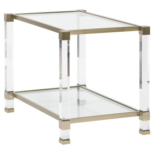 Thom Filicia New Modern Acrylic Satin Brass End Table | Kathy Kuo Home
