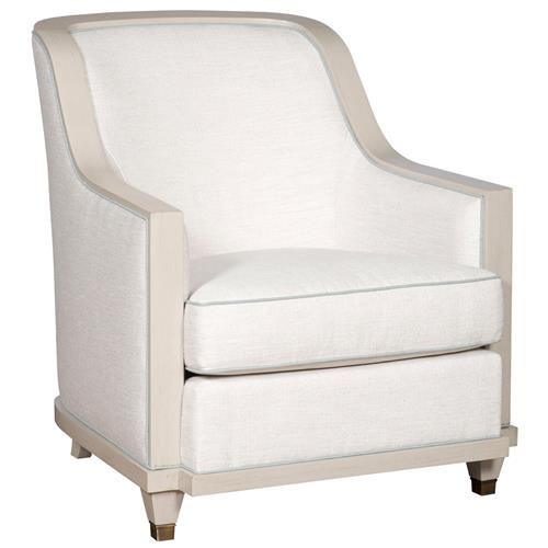 Thom Filicia Burlingame Coastal Ivory Round Blue Trim Armchair | Kathy Kuo Home