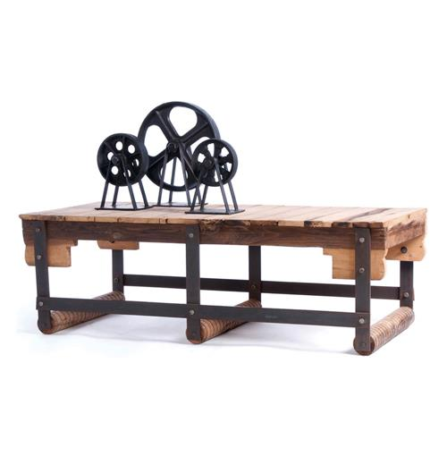 Brookwood Reclaimed Wood Industrial Coffee Table | Kathy Kuo Home