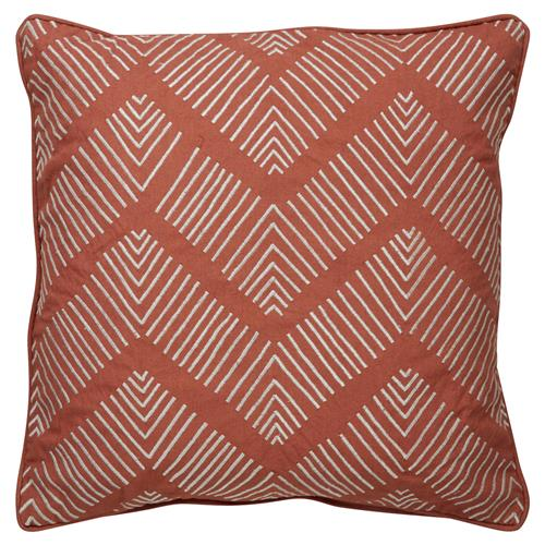 Etro Global Zig Zig Embroidered Rust Pillow - 18x18 | Kathy Kuo Home