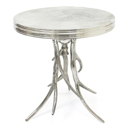 Vail Modern Rustic Polished Silver Antler Horn Side Table | Kathy Kuo Home