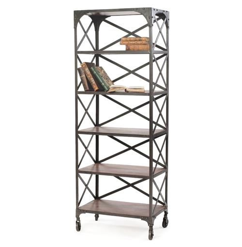 Crossed Back Industrial Modern Bookshelf | Kathy Kuo Home