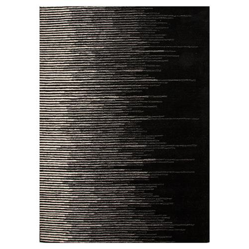 Hector Modern Faded Line Black Wool Rug - 5' x 8' | Kathy Kuo Home