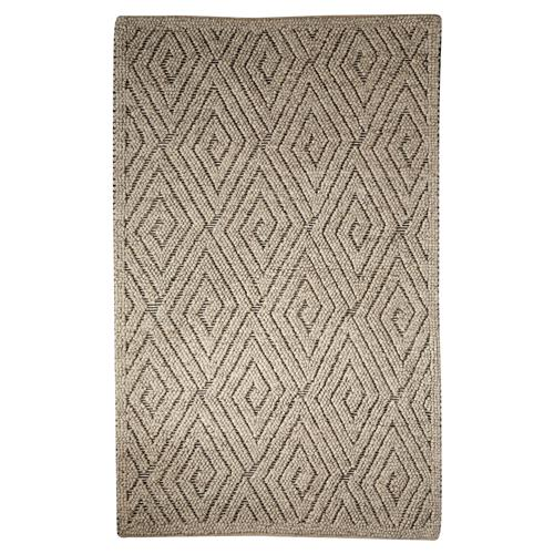Pom Scandia New Zealand Wool Textured Grey Rug - 2' x 3' | Kathy Kuo Home