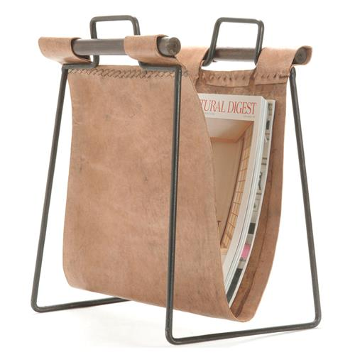 Iron and Leather Rustic Lodge Magazine Rack | Kathy Kuo Home