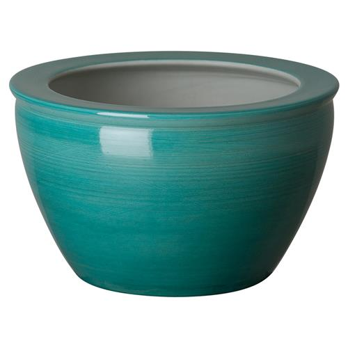 Calma Coastal Peacock Blue Linear Round Ceramic Planter | Kathy Kuo Home