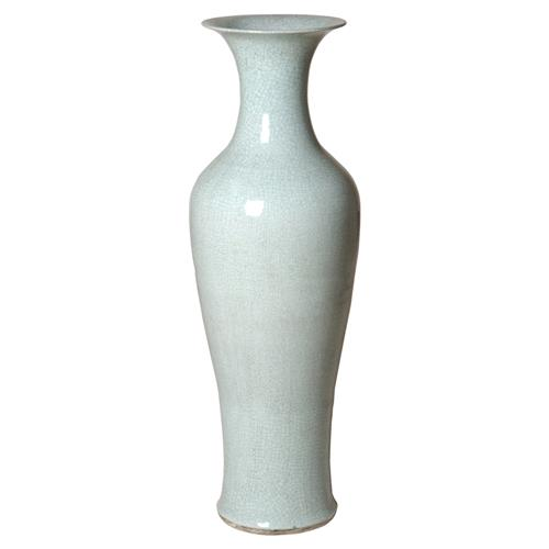 Miels Bazaar Soft Aqua Crackled Ceramic Fishtail Vase | Kathy Kuo Home