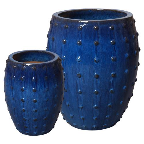 Otis Global Dotted Stud Blue Ceramic Planters - Set of 2 | Kathy Kuo Home