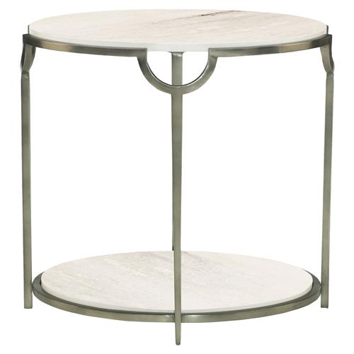Laci Regency Carrera Nickel Oval End Table | Kathy Kuo Home