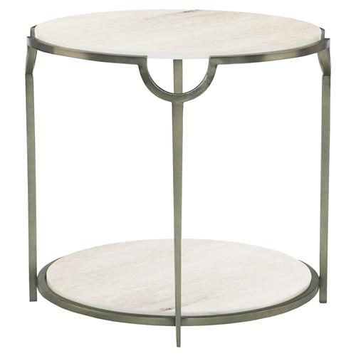 Laci Regency Carrera Nickel Round End Table | Kathy Kuo Home