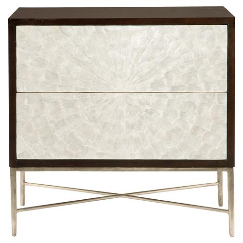 Calli Modern Regency Ivory Capiz Burst Tall Bachelor Chest | Kathy Kuo Home