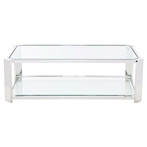 Ryne Modern Classic Polished Silver Glass Coffee Table