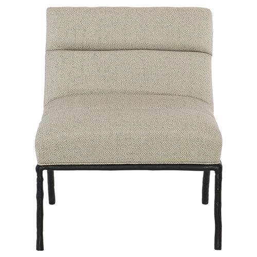 Marmaduke Diamond Weave Iron Faux Bois Occasional Chair | Kathy Kuo Home