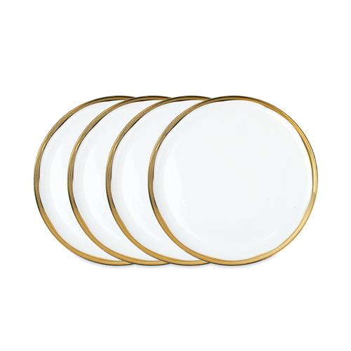 Dauville Regency Gold Rim Ceramic Salad Plate - Set of 4 | Kathy Kuo Home