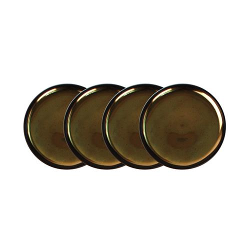 Dauville Charcoal Gold Ceramic Coasters - Set of 4 | Kathy Kuo Home