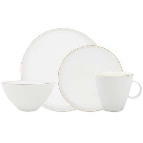 Abbesses Delicate Gold Rim White Dinner Set - 4 Piece | Kathy Kuo Home