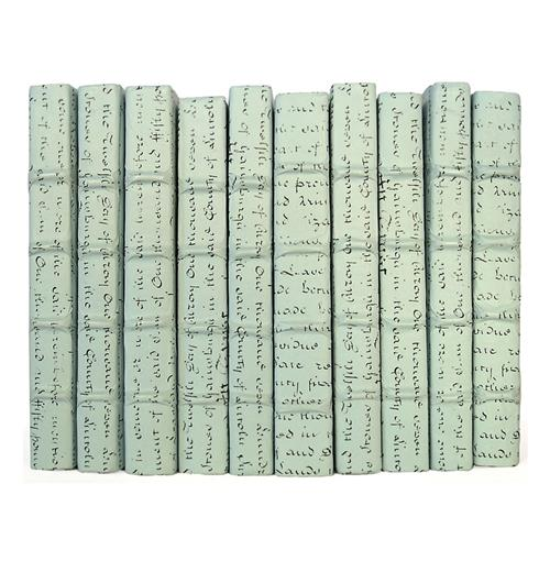 Linear Foot Vintage Hand Made Sky Blue Script Decorative Books | Kathy Kuo Home