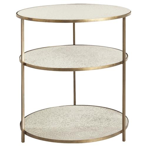 Arteriors Percy Antique Mirrored 3 Tier Brass Side Table | Kathy Kuo Home