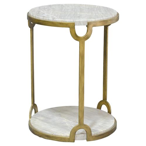 Palecek Athena Regency Marble Round Key Gold Iron End Table | Kathy Kuo Home