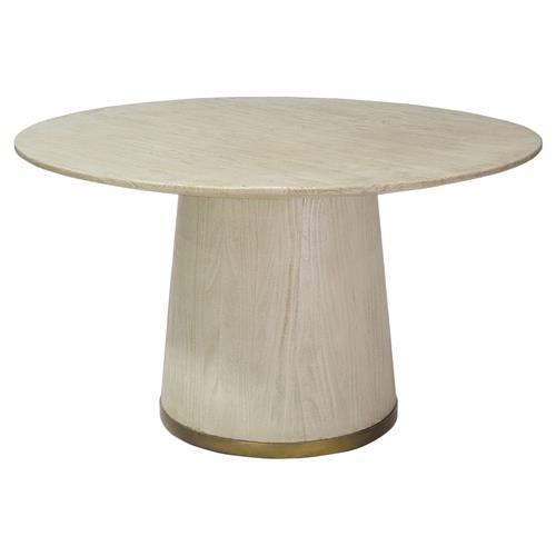 Palecek Conrad Coastal Gold Trim Ivory Round Dining Table | Kathy Kuo Home