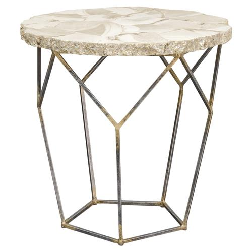 Palecek Loren Coastal Inlaid Clam Shell Gold Iron End Table | Kathy Kuo Home