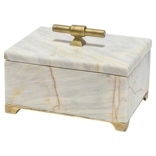 Palecek Thea Regency Gold Iron Marble Decorative Box - S | Kathy Kuo Home