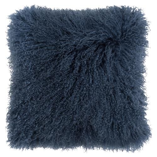 Devi Global Tibetan Textured Wool Navy Blue Pillow - 16x16 | Kathy Kuo Home